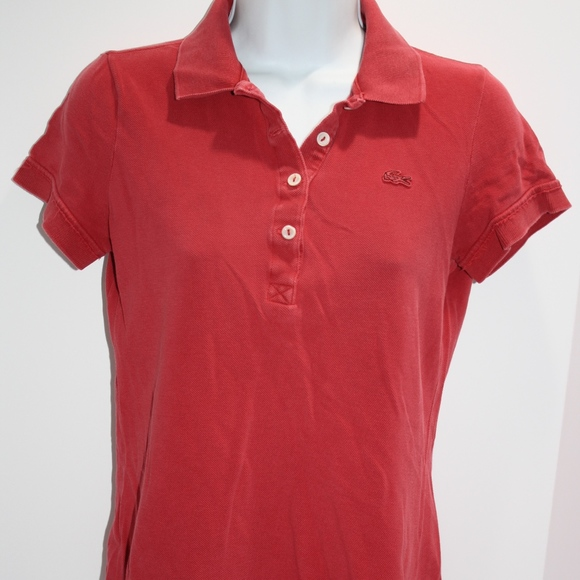51716ca9d6 Lacoste Tops | Polo Shirt Vintage Washed Red Size 38 | Poshmark